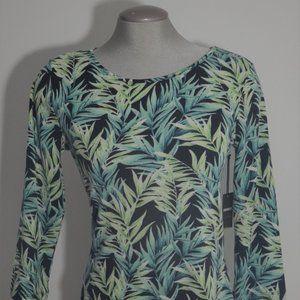 Forever 21 Palm Tree Print Green & Black Dress